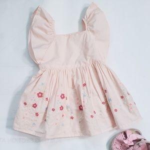 Baby Gap Flutter Sleeve Embroidered Dress 6-12 M